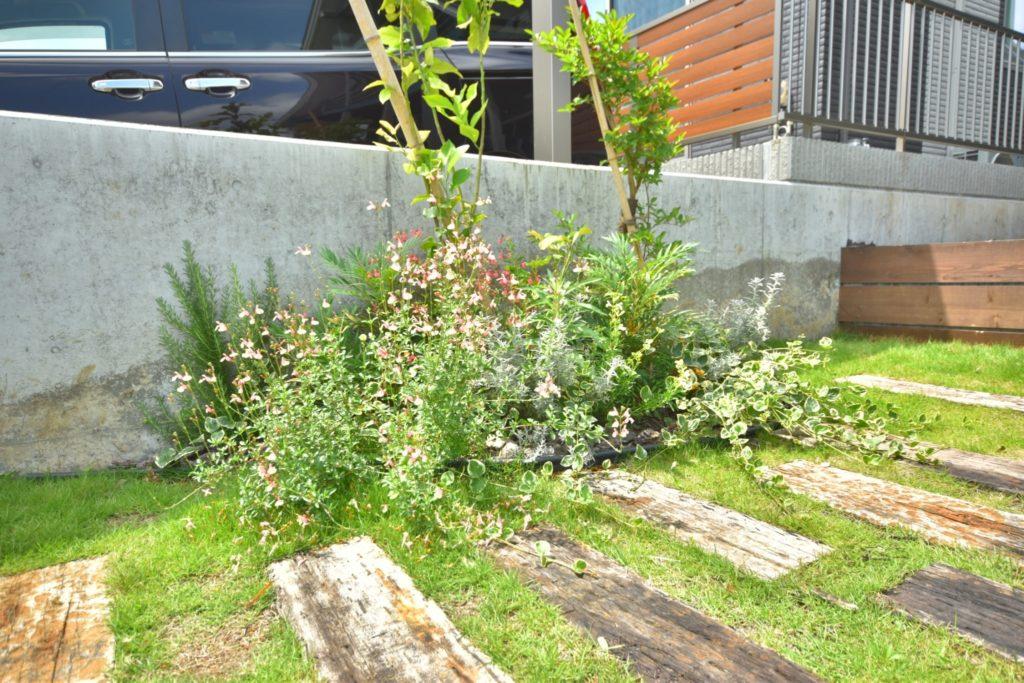 自然素材を使ったお庭